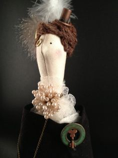 Handmade Cloth Doll Steampunk Style Lady Eugenia Phelan