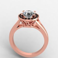 18K Rose Gold Black Diamond Ring with Moissanite Center from Eternity Collection