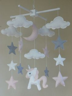 Unicorn Baby Mobile Unicorn Cot Mobile Star Moon by ClooneyCrafts Unicorn Bedroom, Baby Bedroom, Girls Bedroom, Girl Nursery, Nursery Decor, Unicorn Mobile, Diy Bebe, Damier, Baby Crafts