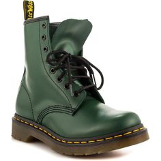 Dr Martens Women's 1460 W - Green Smooth (€105) ❤ liked on Polyvore featuring shoes, boots, ankle booties, green, shoes - doc martens, ankle boots, dr martens boots, leather booties, faux leather boots and short boots