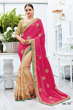 Cream Pink Designer Wedding Wear Saree With Heavy Lace Border Patang Catalog 3912