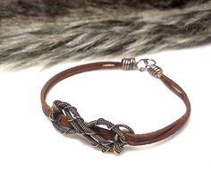 Malá osmička, diy wire wrapped copper bracelet leather patina copper