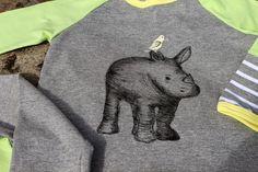 rhino shirt, painted with fabric pens