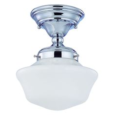 8-Inch Chrome Schoolhouse Semi-Flushmount Ceiling Light at Destination Lighting