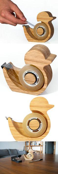 Wooden Desktop Tape Dispenser,A duck shaped sticky tape dispenser , Wooden Gifts, Handmade Wooden, Wooden Toys, Wooden Pen Holder, Cool Office Supplies, Tape Dispenser, Shape Tape, Desk Organization, Desk Accessories