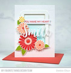 Handmade card from Debbie Olson featuring the All Smiles Card Kit #mftstamps