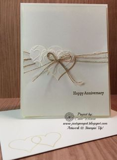 Just Sponge It: More NEW Sale-a-bration Items Added!, Anniversary Cards, Happy H. Just Sponge It: Paper Cards, Diy Cards, Wedding Congratulations Card, Wedding Anniversary Cards, Happy Anniversary, Handmade Anniversary Cards, Wedding Cards Handmade, Handmade Engagement Cards, Love Cards