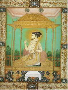 By the time of Shah Jahan (reigned 1628-1658), the Mughal empire's wealth was enough to build the Peacock Throne at Delhi, the symbol of imperial power. Decorated with rubies, sapphires, diamonds, etc. (note - this is Shah Jahan but on a lesser throne with some of the same design elements as the Peacock Throne)