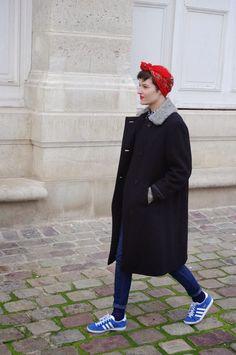 Cerulean, pillarbox, fur collar coat wow