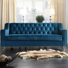 Chic Home Furniture Dylan Sofa Upholstery: Blue