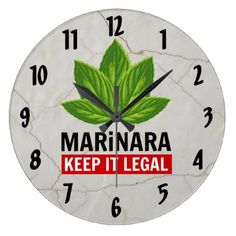 #customize - #Marinara - Keep it Legal Basil Leaves Over Marble Large Clock