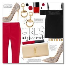 Girl's Night Out by igedesubawa on Polyvore featuring polyvore fashion style Dion Lee TIBI Jimmy Choo Yves Saint Laurent Gucci ASOS NARS Cosmetics Magdalena Old Navy clothing girlsnightout contestentry polyvorecontest