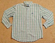 Chaps Shirt Green L Button Down Long Sleeve Plaid Tan Front Cotton Mens New | eBay