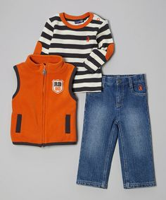 Look at this #zulilyfind! Orange & Charcoal Stripe Vest Set - Toddler #zulilyfinds