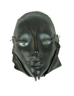 1989 Real Leather Mask Face 80s Retro Decor by VintageInquisitor