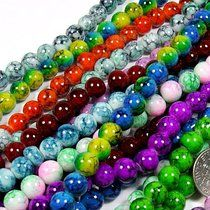 Beading Station 50-Piece Mix Artistic New Marble Design Glass Round Beads, 8mm