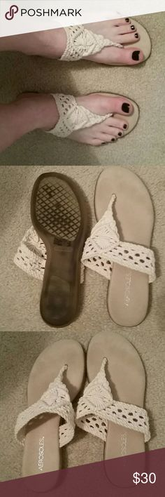 Crochet thong sandals aerosoles Ivory colored crocheted thong sandals worn one time excellent condition just not my style AEROSOLES Shoes Sandals