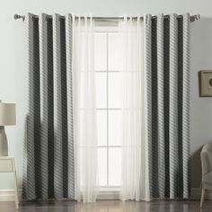 Best Home Fashion, Inc. Mix and Match Voile Sheer and Diagonal Stripe Blackout Window Treatment Set Color: