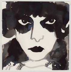 Gill Button, La Marchesa Luisa Casati, 2016 Ink wash on paper — 23 × 23 cm Courtesy of the artist & Less is More Projects, Paris