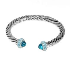.925 Sterling Siler Cable Style Braclet Blue Topaz CZ Stones and tips encrusted with Blue Ice CZ Stones