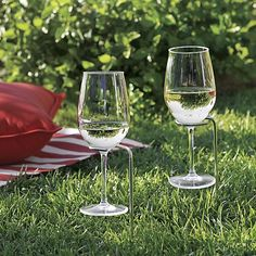 Set of 2 Steady Stick Wine Glass Holders in Picnic & Beach | Crate and Barrel