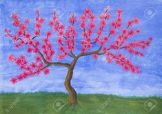 """Saatchi Art is pleased to offer the painting, """"Peach tree in blossom,"""" by Irina Afonskaya. Original Painting: Acrylic on Paper. Spring Landscape, Flower Landscape, Original Paintings, Original Art, Peach Trees, Print Pictures, Artwork Online, Buy Art, Paper Art"""
