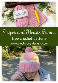 Stripes and Hearts Beanie free crochet pattern from Blackstone Designs #crochet #freecrochetpattern #newcrochetpattern #furlscrochet #Fallfashion #beanie #hat #winterfashion #crochethat