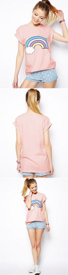 2016 nova moda feminina casual do arco íris de impressão de algodão bonito rosa camisetas tees camisetas tops para as mulheres roupas plus size em Camisetas de Moda e Acessórios no AliExpress.com | Alibaba Group