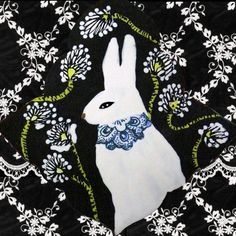 Clay Tile White Rabbit with Blue Necklace by CathyKiffneyStudio, $24.00
