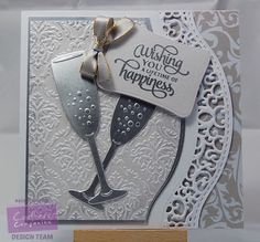 Rach Webber - Crafter's Companion Sara Davies' Signature Collection: Together Forever 6x6 paper pad, Indulgence & Champagne Flutes dies, Decadent Damask embossing folder, Silver Matt Mirri, Sentiment from stamp sheet - #crafterscompanion