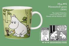 Mug Moomintroll green Moomin Mugs, Marimekko, The Martian, Illustrations, History, Comics, The Originals, Tableware, Green