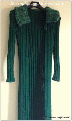 ella kropka com: Zielony płaszcz z kołnierzem