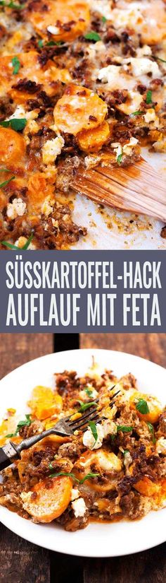 Süßkartoffel-Hackfleisch-Auflauf mit Feta – Kochkarussell Sweet potato mince bake with feta. This recipe is simple and SO delicious – Beef Recipes, Chicken Recipes, Cooking Recipes, Healthy Recipes, Budget Cooking, Potato Recipes, Carne Picada, Eat Smart, Soul Food