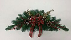 Horizontal Christmas wreath -  Winter door swag - Over the door wall hanging - Winter wall hanging - winter mantle decor - Christmas decor  Check out this item in my Etsy shop https://www.etsy.com/listing/254231483/horizontal-christmas-wreath-winter-door