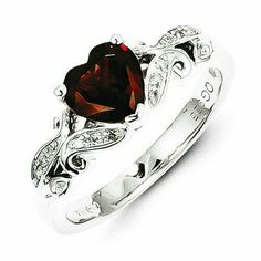 Sterling Silver Diamond And Garnet Heart Ring , - Sparkle & Jade - 1 Jewelry Rings, Jewelry Accessories, Fine Jewelry, Jewlery, Garnet Jewelry, Sterling Silver Jewelry, Silver Rings, 925 Silver, Pretty Rings