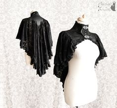 Capelet Gothic Victorian black shrug Steampunk par SomniaRomantica