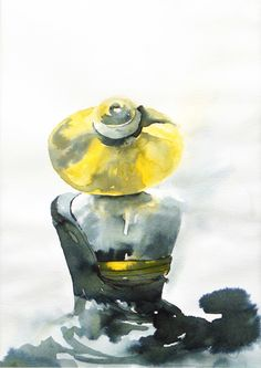 Woman wearing yellow summer hat, painting, watercolors and ink on paper