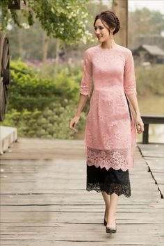 damvayxinh.net - Set nguyên bộ áo dài ren cao cấp màu hồng