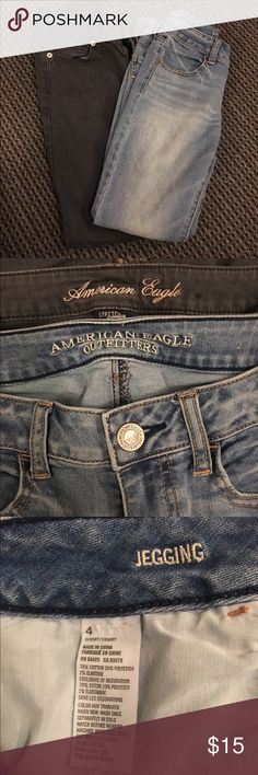 American Eagle Outfitters skinny jeans Two pairs of gently worn American Eagle jeans both size 4. One grey pair of skinny jeans and a pair of light wash jeggings. American Eagle Outfitters Jeans Skinny
