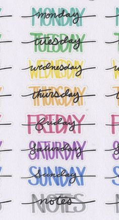 Hand Drawn Bullet Journal (BUJO) Style Weekly Headers for your planner. Each sheet contains 4 sets of Weekday Names and Notes Headers. Each Sticker is approx inches wide. Due to the hand drawn nature of these stickers the size will have slight variations.