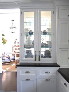 "Classic"" Beach Kitchen Part Two {Double Sided Glass China Cabinet} for in between a kitchen and dinning room?{Double Sided Glass China Cabinet} for in between a kitchen and dinning room? New Kitchen Cabinets, Glass Kitchen, Kitchen Dining, Kitchen Decor, Glass Cabinets, Dining Room, China Cabinets, Glass Shelves, Open Cabinets"