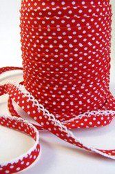 Red Lace Edged Polka Dot Double Fold Bias on a 3m length (N.B. this is a cut from a roll)