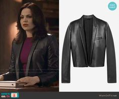 Regina's cropped leather jacket on Once Upon a Time.  Outfit Details: http://wornontv.net/48857/ #OUAT