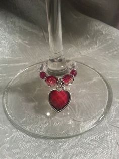 Beautifully Beaded Wine Glass Bling with Red Heart #ByLisaAnn