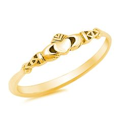 Petite Dainty Yellow Gold Claddagh Ring 925 by BlueAppleJewelry