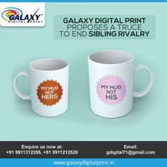 Siblings fight over everything right? So, we came up with a solution to end it. Spread some sibling love by getting the same design printed on mugs. Sibling Fighting, Sibling Rivalry, Mug Printing, Galaxy Print, Textile Prints, Printing Services, Siblings, Printed Shirts, Digital Prints