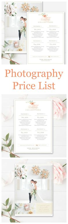 Wedding Photography Contract Custom Branded Marketing Template - Price Sheet Template