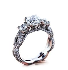 Three Stone Trellis Engagement Ring | Brian Gavin Diamonds™ They have some gorgeous rings!