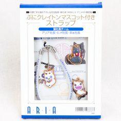 ARIA ぷにクレイトン付きマスコットストラップ 猫社長チーム
