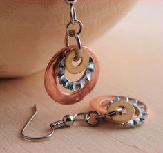 Cool steampunk design.   Copper Dangle Earring Hardware Jewelry Industrial Brass Lock Washers Eco Friendly. $12.00, via Etsy.